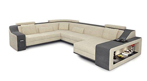 Design Sofa Couch Wohnlandschaft Stoff XXL Ecksofa U-Form mit LED-Licht Beleuchtung BERLIN