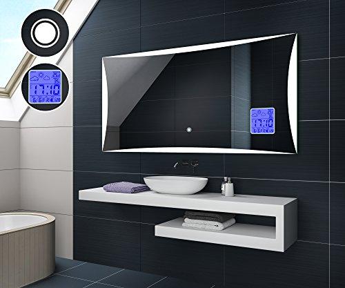 FORAM Design Badspiegel mit LED Beleuchtung von Artforma | Wandspiegel Badezimmerspiegel | WETTERSTATION S1 + TOUCH SCHALTER