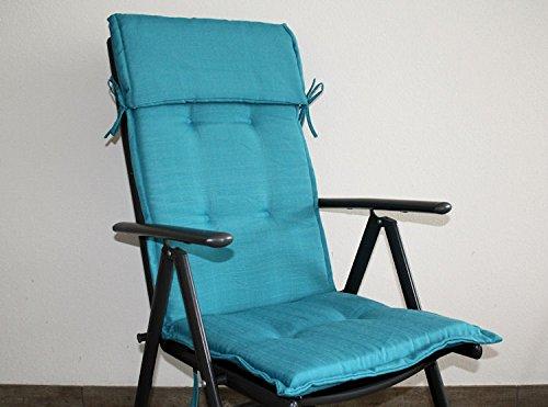 Gartenstuhl Auflage SUNNY COMFORT ICE-BLAU Hochlehner mit 4 cm dicker Comfort-Polsterung