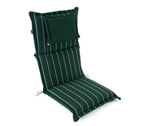 Hambiente Stuhlauflage waschbar mit Reißverschluss, Nackenkissen extra dick 10 cm grün SKA74