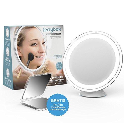 Jerrybox Kosmetikspiegel mit Beleuchtung 360? Rotation Schminkspiegel mit 7-Facher Vergrößerung LED Beleuchteter Makeup Spiegel