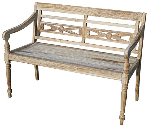 KMH, Teak 2-sitzer Gartenbank Harry (115 cm) im Shabby Chic Stil - whitewashed (#102142)
