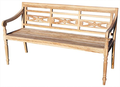 KMH Teak 3-sitzer Gartenbank Harry (145 cm) im Shabby Chic Stil - whitewashed (#102143)