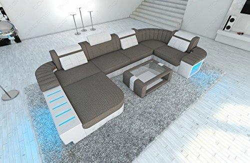 Leder Stoff Wohnlandschaft Bellagio U-Form mit LED Strukturstoff oder Mineva