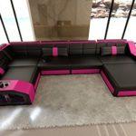 Leder Wohnlandschaft Arezzo U Form schwarz-pink Sofa Ledersofa Couch Ledercouch Ecksofa LED Licht Kopfstützen Designersofa