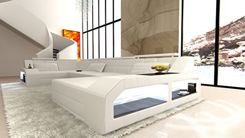 Leder Wohnlandschaft Arezzo U Form weiss-weiss Sofa Ledersofa Couch Ledercouch Ecksofa LED Licht Kopfstützen Designersofa