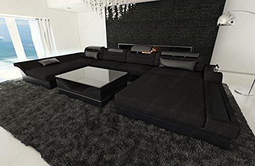 Leder/Stoff Mix Wohnlandschaft Monza U-Form mit LED schwarz - schwarz