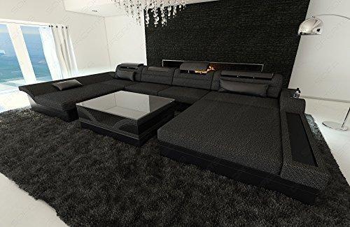 Leder/Stoff Wohnlandschaft Monza U-Form mit LED schwarzgrau - schwarz