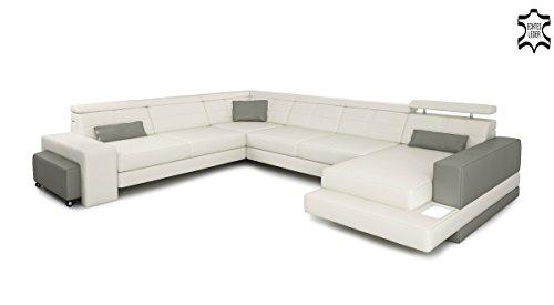 Ledersofa XXL Wohnlandschaft U-Form Ledercouch grau / weiß Leder Sofa Couch Ecksofa mit LED-Licht Designsofa IMOLA