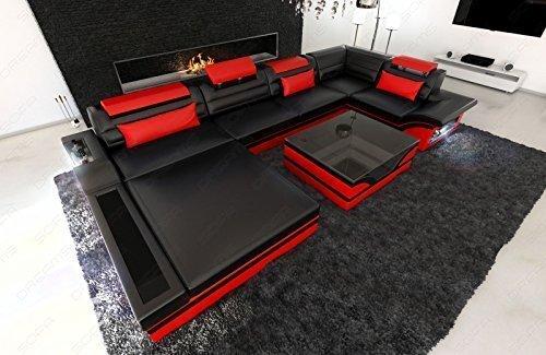 Luxus Wohnlandschaft Mezzo U-Form Designersofa mit LED schwarz - rot