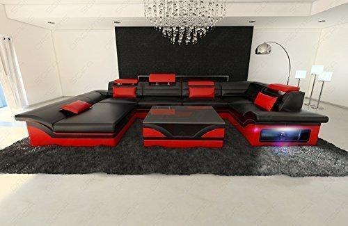 Mega Wohnlandschaft Enzo U-Form mit LED schwarz - rot