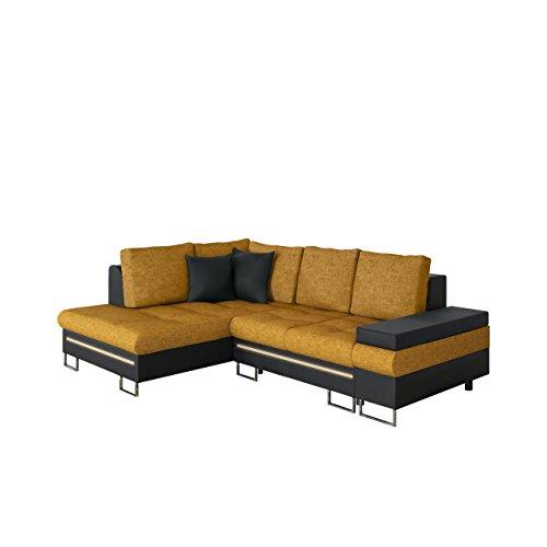 Mirjan24  Ecksofa Rico bis mit RGB LED-Beleuchtung, Schlaffunktion und Bettkasten, Design U-Form Eckcouch, Sofa vom Hersteller, Wohnlandschaft