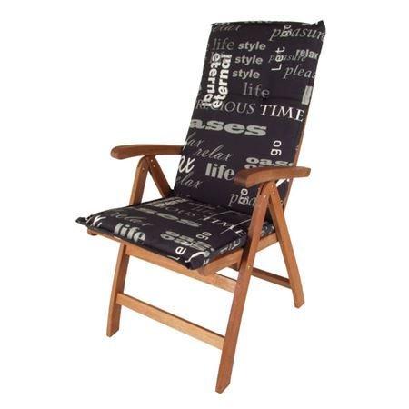Pflegeleichtes Polster für Hochlehner - schwarz - Gartenstuhl Auflage mit Haltegurt - Sitzkissen Stuhlauflage