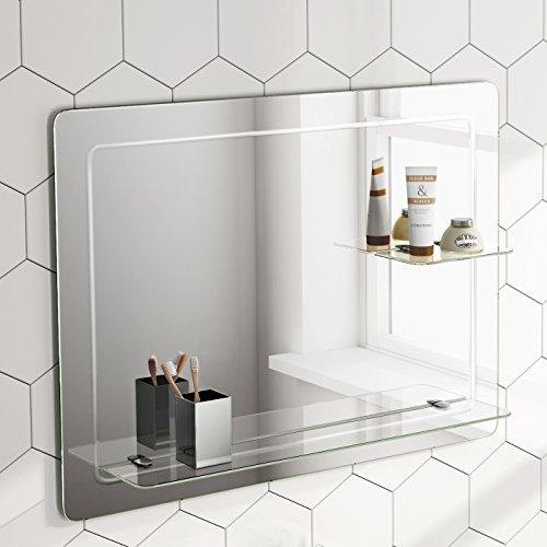 Soak Design-Wandspiegel mit Ablagefläche - Moderner Badspiegel - 80 x 60 cm, abgerundete Ecken, einfache Montage