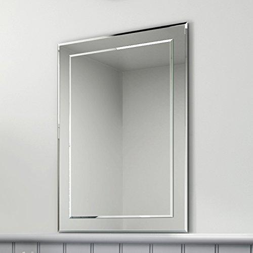 Soak Rechteckiger Design-Wandspiegel - Moderner Badspiegel - 50 x 70 cm, einfache Montage