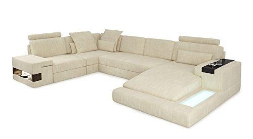Sofa Couch Wohnlandschaft XXL modern Stoffsofa Design Ecksofa U-Form mit LED-Licht Beleuchtung HAMBURG