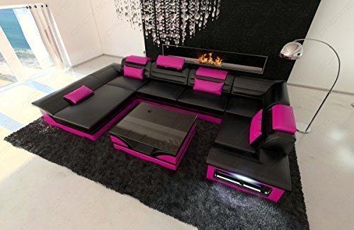 Sofa Dreams Luxus Wohnlandschaft Enzo U-Form LED schwarz - pink