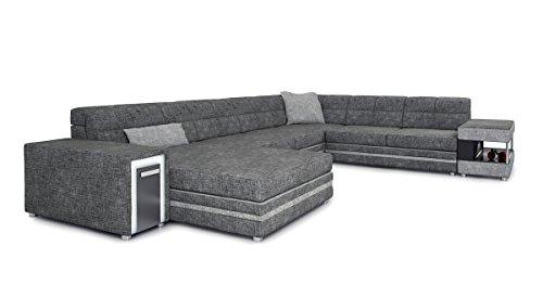 Stoff Wohnlandschaft U-Form grau Textilsofa XXL Sofa Couch Polster Ecksofa Designsofa mit LED-Licht Beleuchtung MARCO