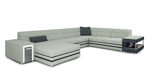 XXL Wohnlandschaft U-Form Stoff weiß platin / grau Textil Sofa Couch Designsofa Ecksofa mit LED-Licht Beleuchtung MARCO