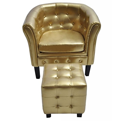 vidaXL Edle Chesterfield Edler Sessel Lounge Couch Sofa Wohnzimmer mit Sitzhocker NEU