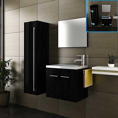 Badmöbel Komplettset mit Waschbecken aus Mineralguss, Unterschrank, Hochschrank und Design-Spiegel mit Softclose-Funktion / Hochglanz schwarz