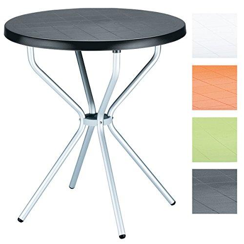 CLP Balkon Bistro-Tisch ELFO, rund Ø 70 cm, Esstisch Höhe 72 cm, Kunststoff/Aluminium, wetterfest, 4 Personen, ideal für Balkon & Terrasse