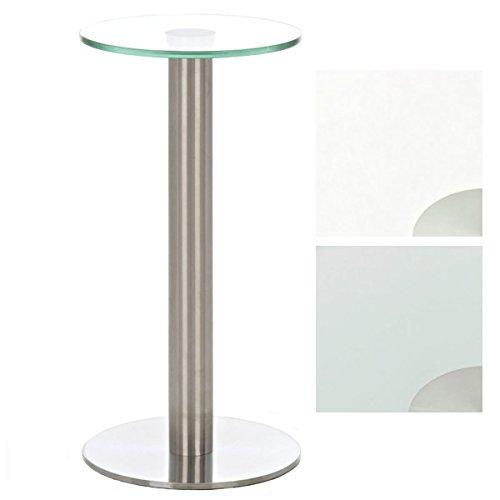CLP Glastisch MARIDA, Beistelltisch mit Edelstahlgestell, Kaffeetisch mit Einer 1 cm Starken Sicherheitsglasplatte