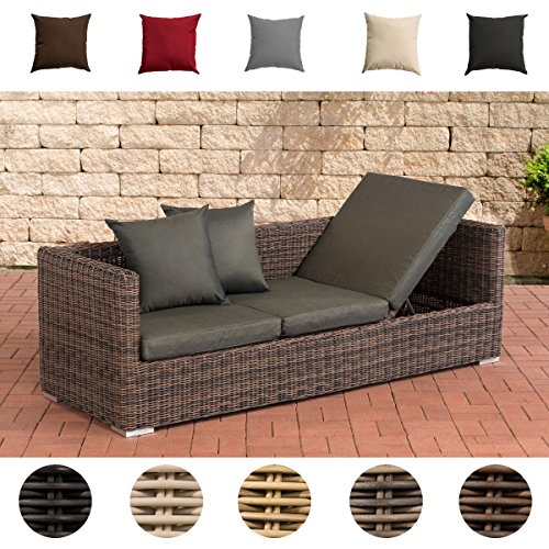 CLP Poly-Rattan Lounge-Sofa Solano 5 mm, ALU-Gestell, 3 er Sofa/Sonnenliege