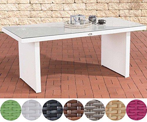 CLP Polyrattan-Gartentisch AVIGNON mit einer Tischplatte aus Glas I Wetterbeständiger Tisch mit sechs Sitzplätzen I In verschiedenen Farben erhältlich