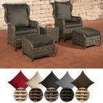 CLP Polyrattan-Sitzgruppe Treviso Inklusive Polsterauflagen   Garten-Set Bestehend aus Einem Beistelltisch, Zwei Sesseln und Zwei Hockern   in Verschiedenen Farben erhältlich