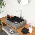 Wohnfreuden Marmor Waschbecken KOTAK rechteckig gehämmert 50 cm schwarz