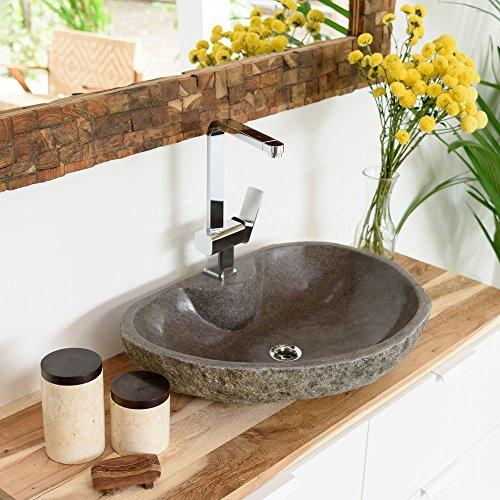 Wohnfreuden Naturstein - Waschbecken Aufsatzwaschbecken aus Stein 60 cm mit gerader Rückwand für Ihr Badezimmer | Versandkostenfrei ✓
