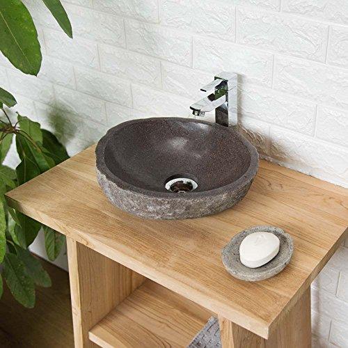 Wohnfreuden Naturstein - Waschbecken Steinwaschbecken Oval 30 cm für Gäste WC Bad   Einzeln fotografiert & Auswahl aus Bildergalerie   Versandkostenfrei ✓