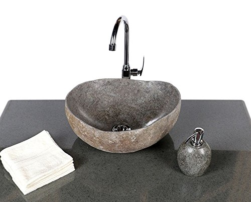 Wohnfreuden Stein – Waschbecken Naturkante | Naturstein Waschbecken oval 40-50 cm | Aufsatzwaschbecken aus Stein für ihr Badezimmer | Versandkostenfrei ✓