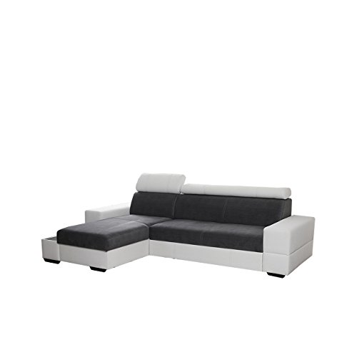 Ecksofa Lacosta mit einstellbaren Kopfstützen, Praktische Ablage, Polsterecke mit Bettkasten und Schlaffunktion, Design Eckcouch mit Bettfunktion, Funktionssofa L-Form, Bettsofa (Ecksofa Links, Soft 017 + Cairo 36)