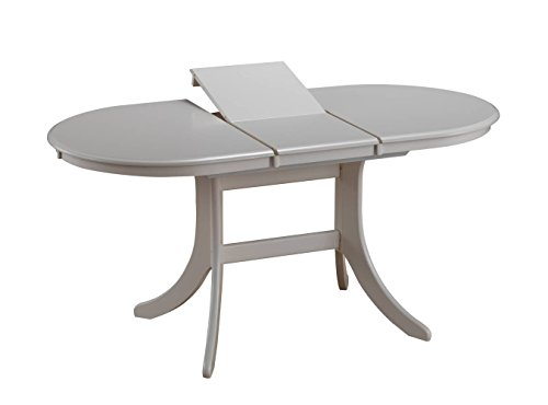 Esstisch ausziehbar Daures 94 (oval), Farbe: Weiß - Abmessungen: 120 - 155 x 80 cm (B x T)