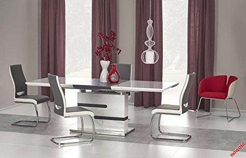 Esstisch hochglanz weiß - grau weiss ausziehbar Esszimmertisch Edelstahl Design