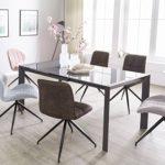 Esszimmertisch Noble 122-182 cm ausziehbar dunkelgrau Metall/Glas | Tisch für Esszimmer rechteckig | Küchentisch 4-8 Personen | Design Esstisch