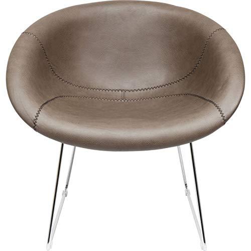 Kare Sessel Lounge, 83237 Fernsehsessel in Baseball Optik, Cooler Loungiger Designstuhl, Bezug: 100% Textil Polyurethanbeschichtet, grau, braun, Chrom, (HxBxT) 73 x 76 x 47 cm