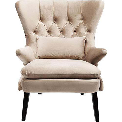 Kare Sessel Meeting Point, 83141, Großer Ohrensessel, Loungesessel mit Armlehnen, Schöner Fernsehsessel, Bezug: 100% Polyester, braun, schwarz, (HxBxT) 105 x 83 x 82 cm