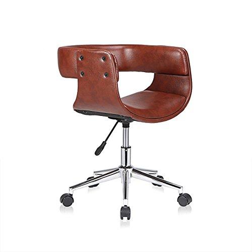 MY SIT Design Stuhl Retro Drehstuhl Bürostuhl Vintage Antik Kunstleder Drehhocker Wohnzimmerstuhl Esszimmerstuhl Drehsessel Höhenverstellbar - Francis in Braun