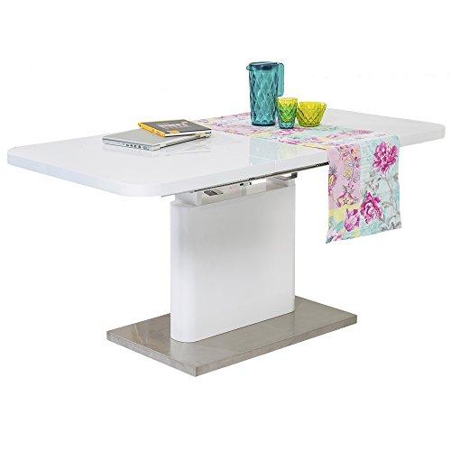 Maison ESTO Tisch ANDREA Esszimmertisch Esstisch Küchentisch hochglanz weiß ausziehbar