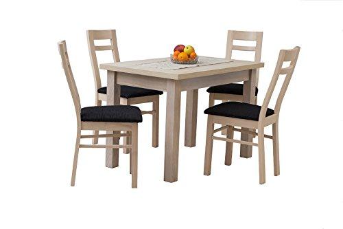 mb-moebel Esstisch mit 4 Stühlen: 110 x 70 cm ausziehbare Tischplatte, Esszimmertisch, Tischgruppe, Essgruppe -Vesuvio (MDF-Platte + Naturfurnier + Holzgestellt)