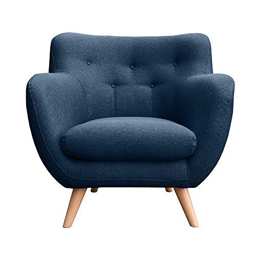 myHomery Sessel Adele Gepolstert - Polsterstuhl für Esszimmer & Wohnzimmer - Lounge Sessel mit Armlehnen - Eleganter Retro Stuhl aus Stoff mit Holz Füßen - Navy Blue | Sessel